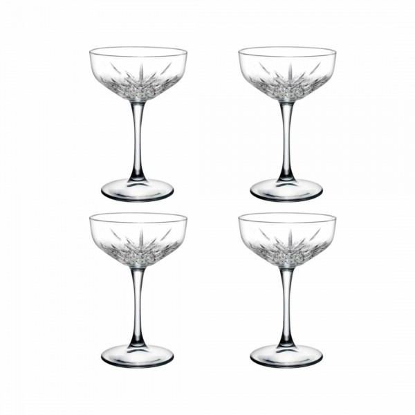 NEU: Cocktailbecher mit Fuß - Kristall-Design 4er Set