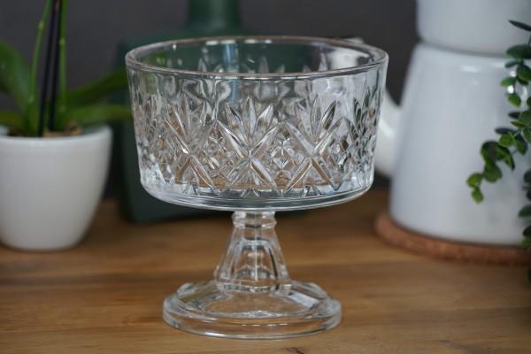 Glasschale in Kristalloptik mit Fuß