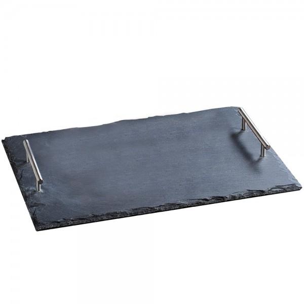 Buffetplatte Schiefer 45 x 30 cm mit Tragegriffe, Servierplatte